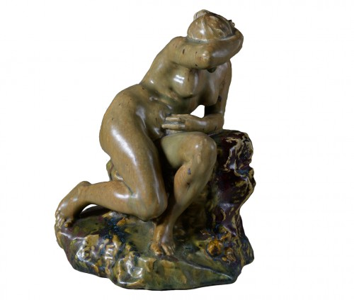 Pierre-Adrien Dalpayrat - Naiad on a rock, polychrome ceramic