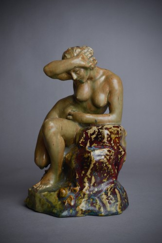 Pierre-Adrien Dalpayrat - Naiad on a rock, polychrome ceramic - Sculpture Style Art nouveau