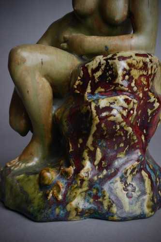 Sculpture  - Pierre-Adrien Dalpayrat - Naiad on a rock, polychrome ceramic