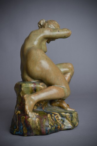 20th century - Pierre-Adrien Dalpayrat - Naiad on a rock, polychrome ceramic