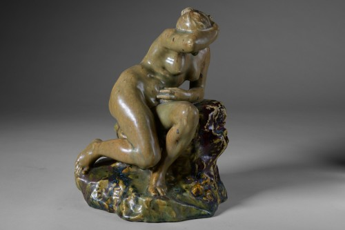 Art nouveau - Pierre-Adrien Dalpayrat - Naiad on a rock, polychrome ceramic