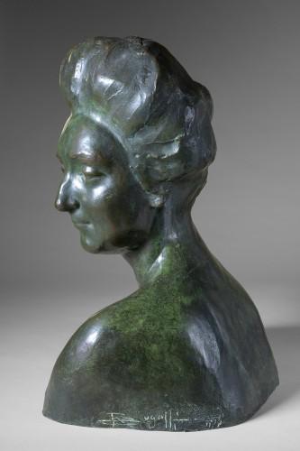 Rembrandt Bugatti (1884 -1916) - Portrait de Mme Denise Ferrero. - Sculpture Style Art nouveau