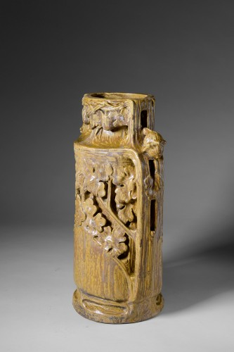 Georges Hoentschel - Large ceramic vase with spills - Porcelain & Faience Style Art nouveau