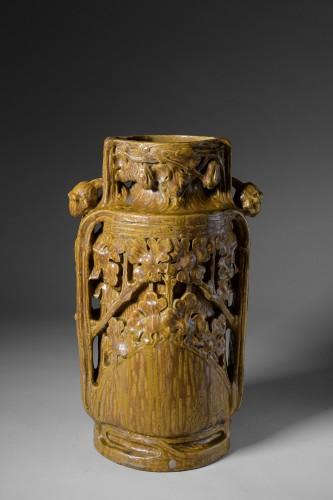 Porcelain & Faience  - Georges Hoentschel - Large ceramic vase with spills