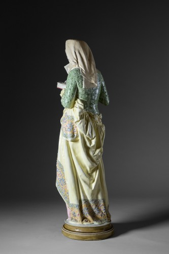 Albert-Ernest Carrier-Belleuse (1824-1887) - La liseuse - Porcelain & Faience Style Art nouveau