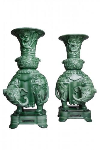 Théodore Deck (1823-1891) - Pair of domed vases - enameled ceramic