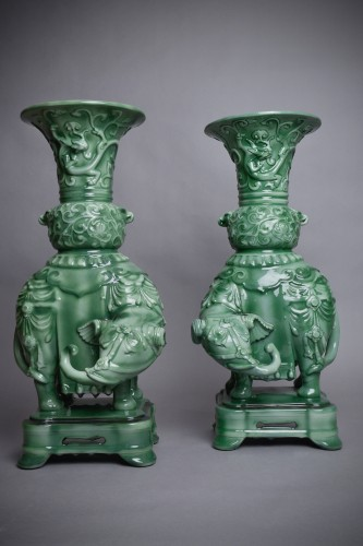 Théodore Deck (1823-1891) - Pair of domed vases - Porcelain & Faience Style Art Déco