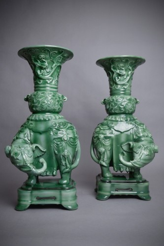 Théodore Deck (1823-1891) - Pair of domed vases -