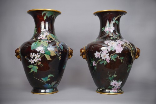 Hippolyte Boulenger - Pair of ceramic vase - Porcelain & Faience Style Art nouveau