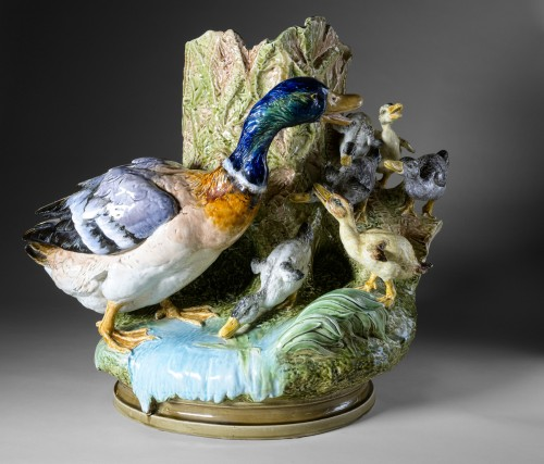Porcelain & Faience  - Louis Robert Carrier Belleuse - Polychrome ceeramic with duck and ducklings