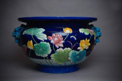 Porcelain & Faience  - Eugène Collinot  - Planter in polychrome ceramic.