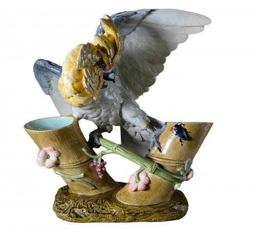 Paul Comoléra (1813-1890) - Polychrome ceramic parrot