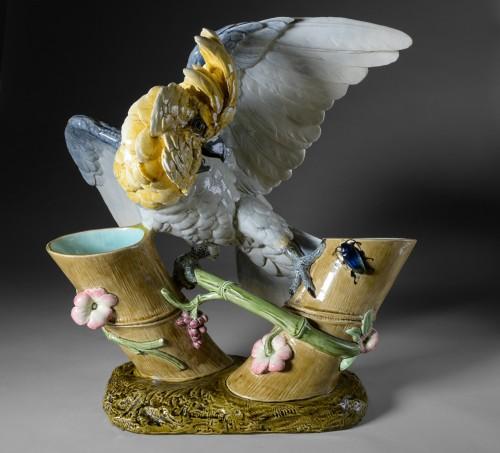 Paul Comoléra (1813-1890) - Polychrome ceramic parrot - Porcelain & Faience Style Art nouveau