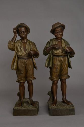 Goldscheider, young blacks - Sculpture Style Art nouveau