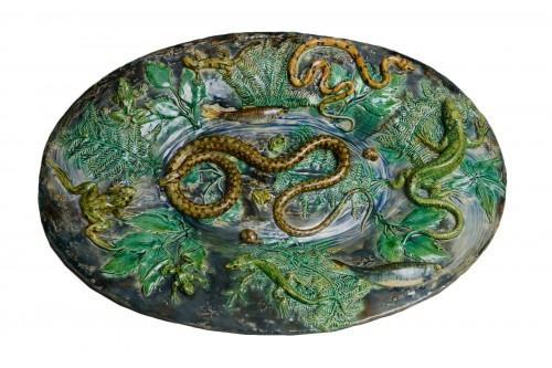 Alfred Renoleau - Majolica - Snake and salamanders dish, enameled ceramic.