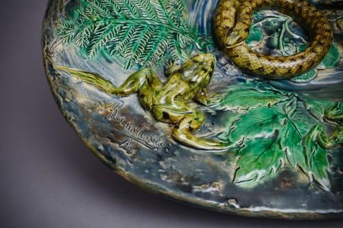 Alfred Renoleau - Majolica - Snake and salamanders dish, enameled ceramic. - Porcelain & Faience Style Art nouveau