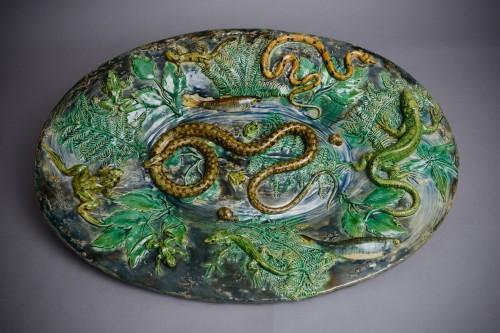 Porcelain & Faience  - Alfred Renoleau - Majolica - Snake and salamanders dish, enameled ceramic.