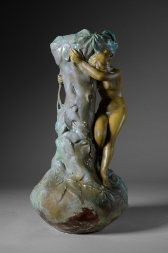 Porcelain & Faience  - Ernest Bussière (1863 -1913) - Long neck vase.
