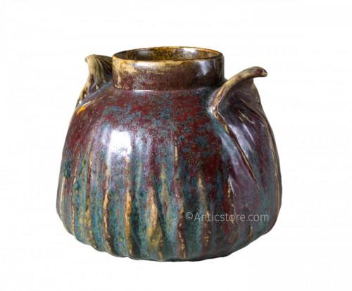 Dalpayrat - Vase in enameled ceramic with vegetale handles (Art Nouveau)
