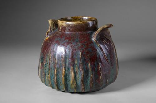 Dalpayrat - Vase in enameled ceramic with vegetale handles (Art Nouveau) - Porcelain & Faience Style Art nouveau