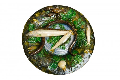 Alfred Renoleau  - Majolica - Round enameled ceramic dish with eel.