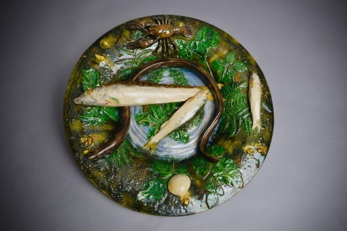 Alfred Renoleau  - Majolica - Round enameled ceramic dish with eel. - Porcelain & Faience Style Art Déco