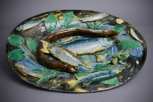 Alfred Renoleau  - MajolLarge enameled ceramic deep dish with aquatic decor - Porcelain & Faience Style Art Déco