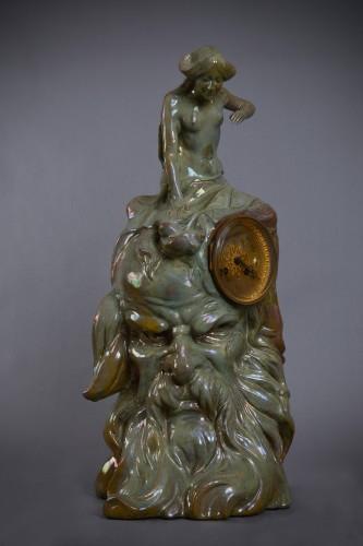 Clock in enameled ceramic - Porcelain & Faience Style Art nouveau