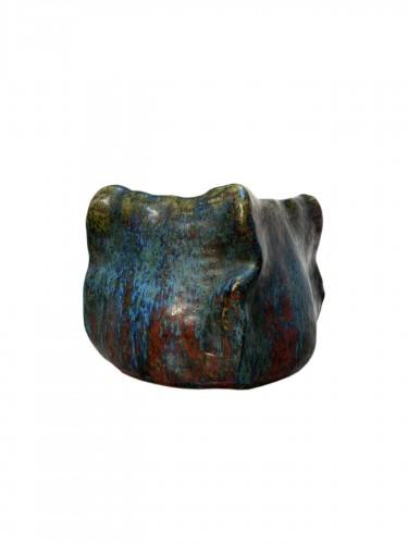 Dalpayrat, embossed square vase in enameled ceramic