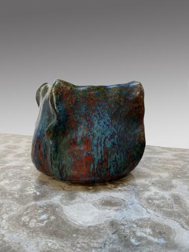Pierre-Adrien Dalpayrat, embossed square vase in enameled ceramic. - Porcelain & Faience Style Art nouveau