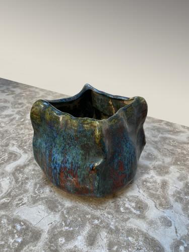 Porcelain & Faience  - Pierre-Adrien Dalpayrat, embossed square vase in enameled ceramic.