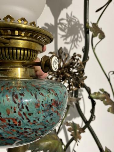 Lighting  - Large ceramic kerosene lamp with wading heron.