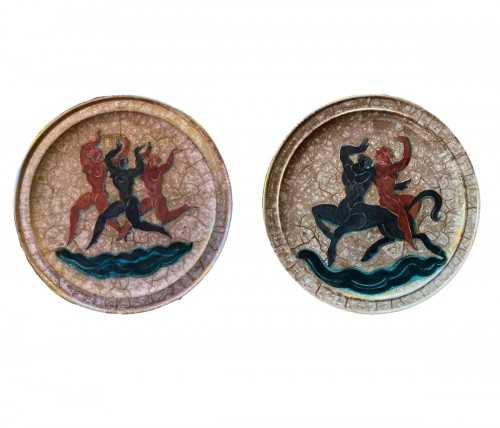 "Jean Mayodon, pair of ceramic plates signed with ""M et Sèvres 1952""."