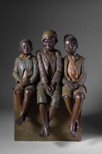 Goldscheider - Three children at the photographer - Sculpture Style Art nouveau