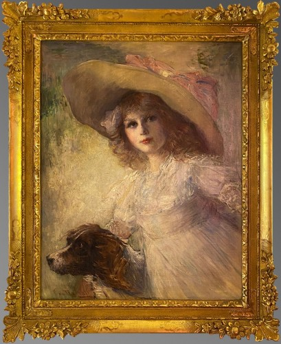 19th century - Floppy hat young girl with her dog
