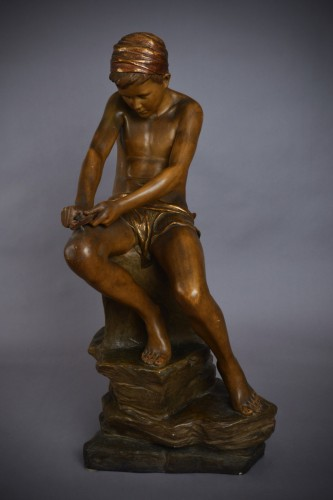 Sculpture  - Goldscheider - Young arab with a turban in terracotta