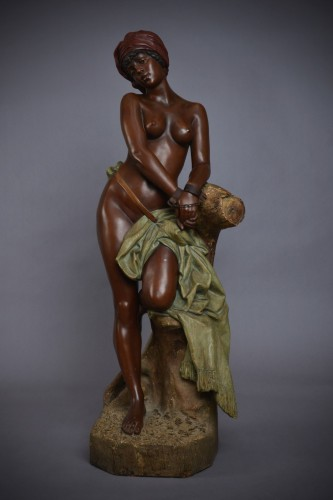 Sculpture  - Goldscheider - Chained black Slave in terracotta