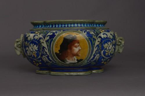 Edmond Lachenal, Orpheus and Hamlet planter - Porcelain & Faience Style Art nouveau