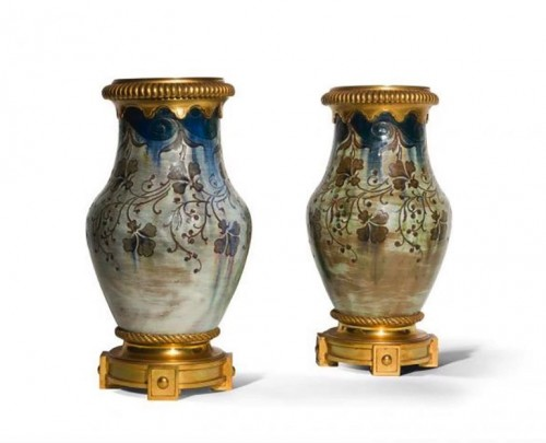 Auguste Delaherche - Pair of baluster vases, ceramic and gild bronze
