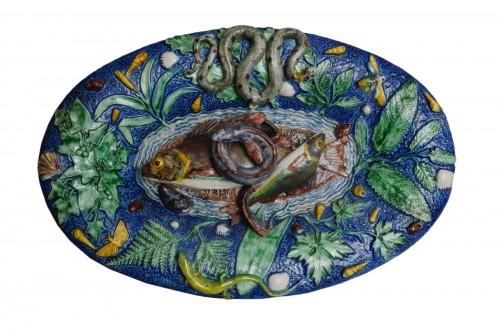 Achille et Victor Barbizet - Round aquatic dish - enamled ceramic