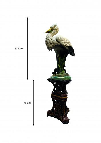 Majolica -  Faïence de Toul - Bellevue, Heron with the frog on its column - Art nouveau