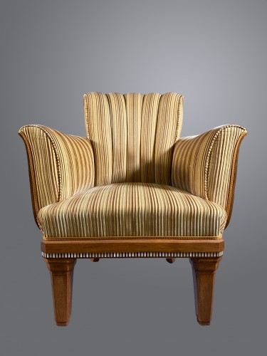 Paul Follot, Pair Of Macassar Veneer Armchair, Ivory Frieze. Ca 1925 - Seating Style Art Déco
