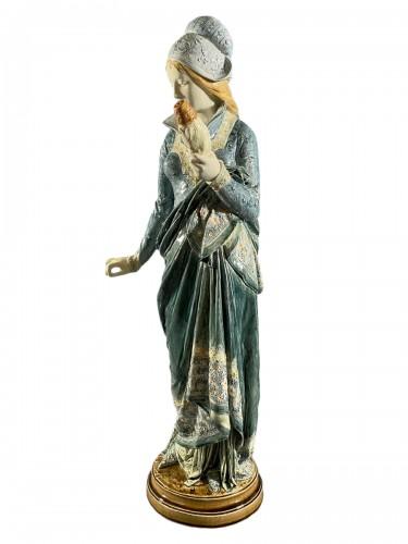 La Fileuse, Barbotine Enemaled ceramic - Albert-Ernest Carrier-belleuse