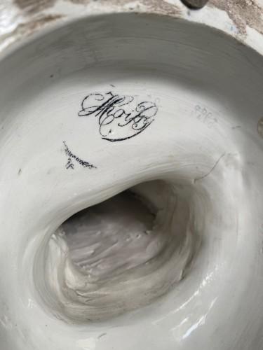 La Fileuse, Barbotine Enemaled ceramic - Albert-Ernest Carrier-belleuse - Porcelain & Faience Style Art nouveau