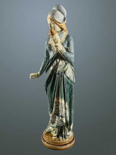 Porcelain & Faience  - La Fileuse, Barbotine Enemaled ceramic - Albert-Ernest Carrier-belleuse