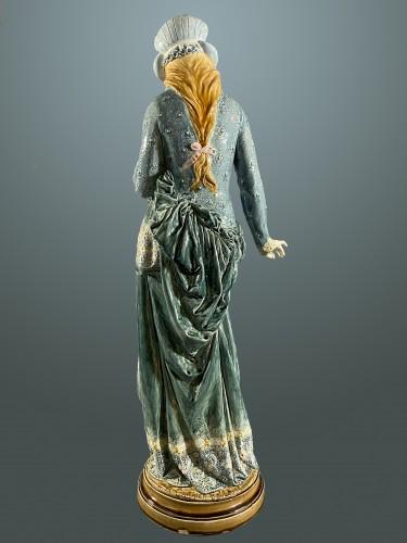 La Fileuse, Barbotine Enemaled ceramic - Albert-Ernest Carrier-belleuse -