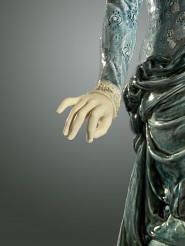20th century - La Fileuse, Barbotine Enemaled ceramic - Albert-Ernest Carrier-belleuse