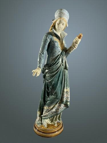La Fileuse, Barbotine Enemaled ceramic - Albert-Ernest Carrier-belleuse - Art nouveau