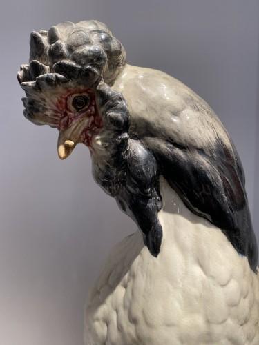 Paul Comoléra, Cock and hen in barbotine. - Art nouveau