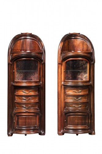 Eugène Vallin (1856-1922) - Pair of bedside cabinets